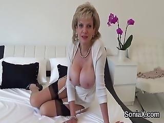 Unfaithful British Milf Lady Sonia Shows Her Massive Melons