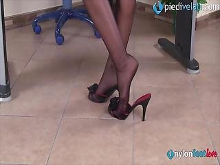 Your New Secretary Is A Hot Redhead With Green Eyes: She Comes At Work With Stockings And High Heels Only To Drive You Crazy With Her Legs And Feet