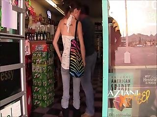 Horny Brunette Gets Dirty In Public Store And Shows Off Her Goods