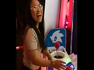 Arcade Video Game Nerdy Tiny Asian Teen Deepthroat And Creampie