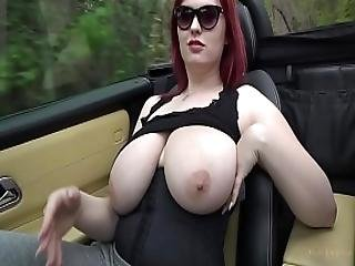 Busty Legend Alexsis Faye Drives Topless In Her Convertible