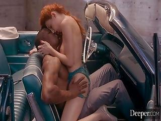 Red-haired Girl Surrendered To A Black Lover In The Garage