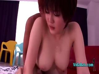Busty Asian Girl Getting Her Pussy Fucked Cum To Tits On The Mattress In The Roo