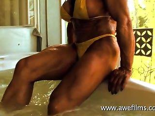 Hot Muscle Beasts Colette And Jana Play With Each Other In Jacuzzi