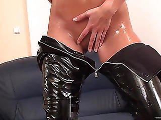 Jennifer Stone In Leather Oils Her Body In Advance Of Being Slammed Hardcore