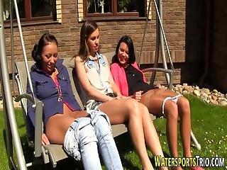 Lesbos Pee Soak Outdoors