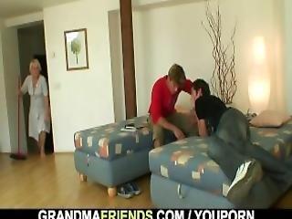 γιαγιά, Granny, ώριμη, μεγάλος, πραγματικότητα, Seduced, φύλο, τριο, νέα