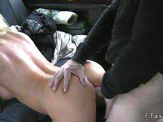 Stunning Busty Blonde Pussy Licked In Cab