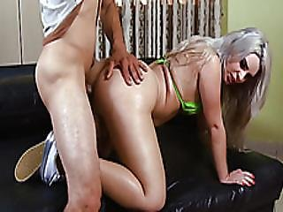 Horny Busty Shemale Asshole Reamed Good In Many Poses