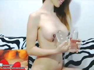Hot Girl First Time Extreme Big Glass Plug In Ass And Nipples Clamp