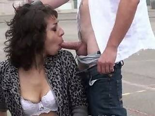 Public sex threesome with Anthea at a basketball court NICE