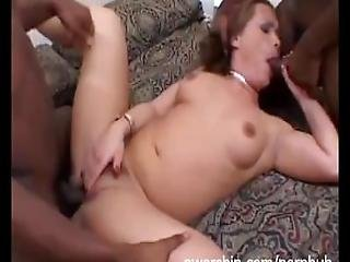 Shaved Hot Pink Pussy Milf Fucking Two Black Cocks Interracial Anal