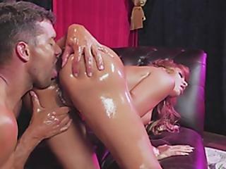 Lubed Up Pornstar Gets Slid The D
