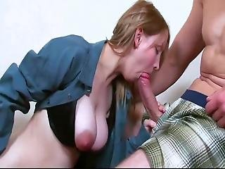 Amazing Busty Teen Loves Her Roommate On The Stairs