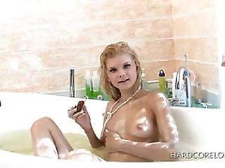 Sweet Blonde Teenie Taking A Bath