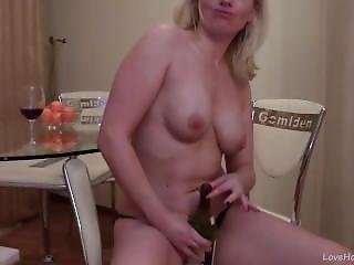 Drunk Blonde Uses Her Bottle On Her Pussy.