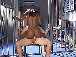 Hot Swarthy Playgirl In Drilled Inexperienced By Her Interrogator