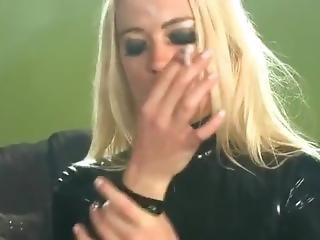 Smoking In Latex Dress