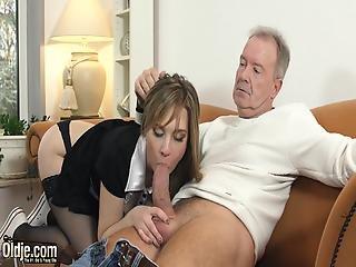 blowjob, padre, deepthroat, sexando, duro, criada, Adolescente, joven