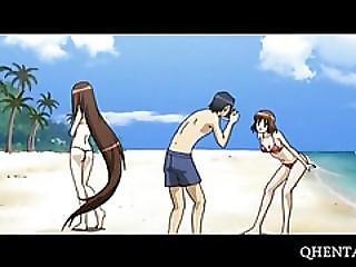 τρίο, Anime, Bdsm, παραλία, καρτούν, φετίχ, γαμήσι, σκληρό, Hentai, Toon