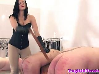 British Dominatrix Paddling And Caning Worthless Subs