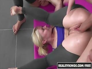 Reality Kings   Yoga Babes Ash Hollywood And Presley Hart Share A Cock