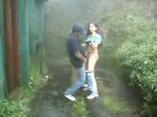 Desi Teen Archana Sucking Fucking Hard By Bf In Moaning In Rainy Garden