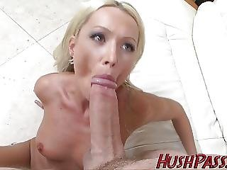 Sexy Blonde Milf Struggles With Biggest White Cock