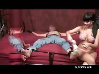 Old Men Tickled Feet By Two Girls