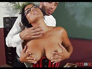 Sexy Big Boob Teacher With Glasses And Stockings