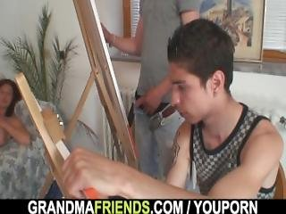 Old Woman Gets Banged By Two Young Painters