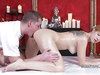Blonde Cutie Got Anal Licked By Masseur