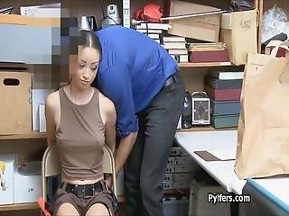 Exotic Thief Sucks Guards Cock In Lara Uniform