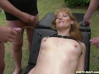 Hot Wife Nicole Pissed On By Plenty Of Men