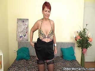 European Gilf Tarra Lowers Her Big Grandma Panties And Plays With Her Old Pussy Bonus Video: Euro Gilf Isabel
