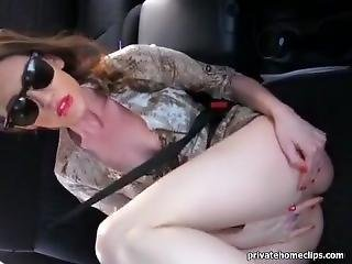 Blonde Masturbates In The Car