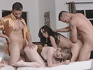Two Hot Babes Sharing Their Craziest Foursome Fuck