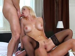 Blonde In Black Stockings Gets Dp-ed