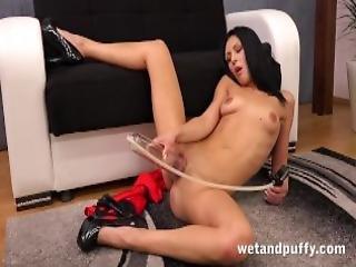 Sex Toys Raven Haired Kara Fucks A Monster Sized Black Dildo