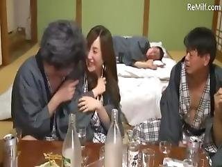 Asian Japanese Wife Gets Gangbanged By 3 Friends While Her Husband Was Drunk - Part 2 On