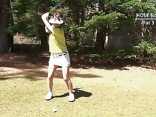 Golf Whore Gets Teased And Creamed By Two Guys