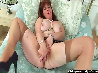 British, Hairy, Mature, Milf, Mom, Pussy, Stocking