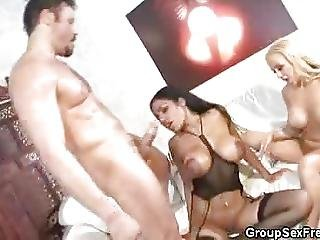 Busty Chicks Gets Jizzed On A 3some