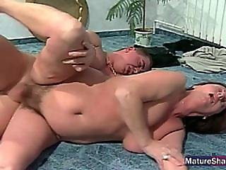 Cock In Mature Hairy Pussy.
