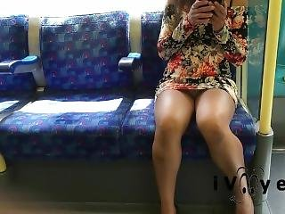 Dariing Risky Upskirt In Public Flash On Train
