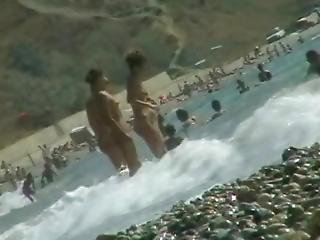 ametérské, pláž, nudisti, veřejné, solo