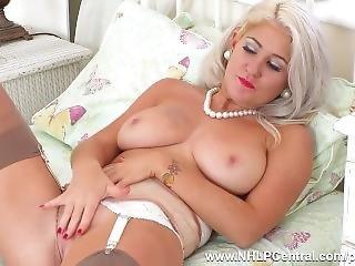 Horny Blonde Lu Elissa Fucks Big Dildo Toy In Vintage Stockings Suspenders