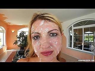Michaela - Cum For Cover Blowbang Bukkake Scene With Many Facials