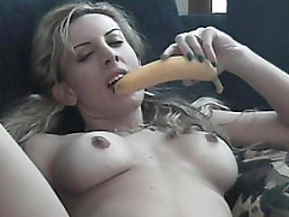 Blonde Babe In Full Naked Glory Eating Banana Masturbation