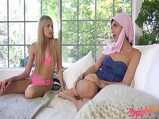 Steplesbians - Scarlett Sage Comforts Her Muslim Stepsister Audrey Royal